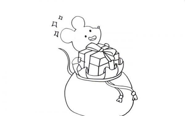 老鼠迎新年画简笔画图片