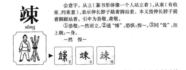 竦,竦的拼音,笔顺,意思解释,英文,五行属性,部首,结构