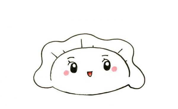 可爱饺子简笔画教程,一个饺子简笔画