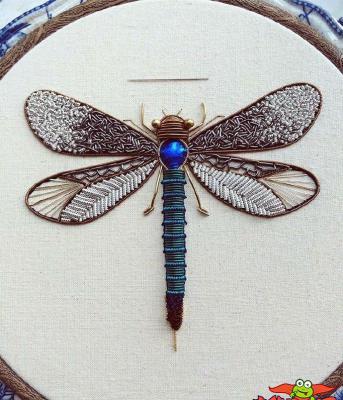 手工刺绣图案大全,昆虫刺绣